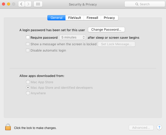 OSX Security settings